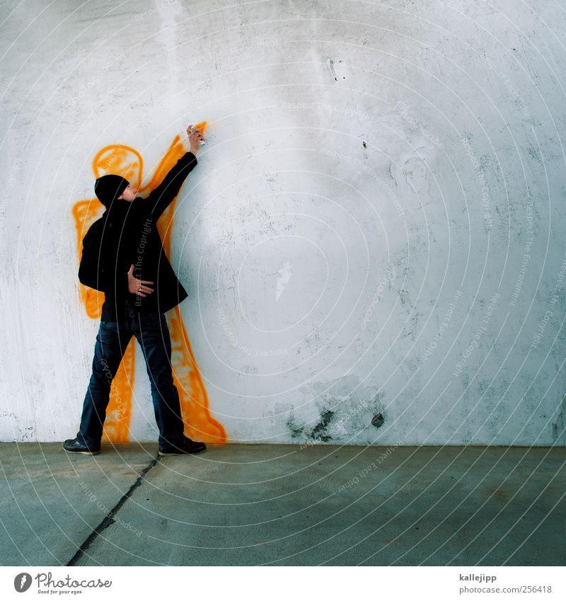 ich sprüh´s an jede wand Mensch Mann Erwachsene Graffiti Wand Mauer Kunst Körper Orange maskulin Lifestyle Kultur Jeanshose Gemälde Jacke Mütze