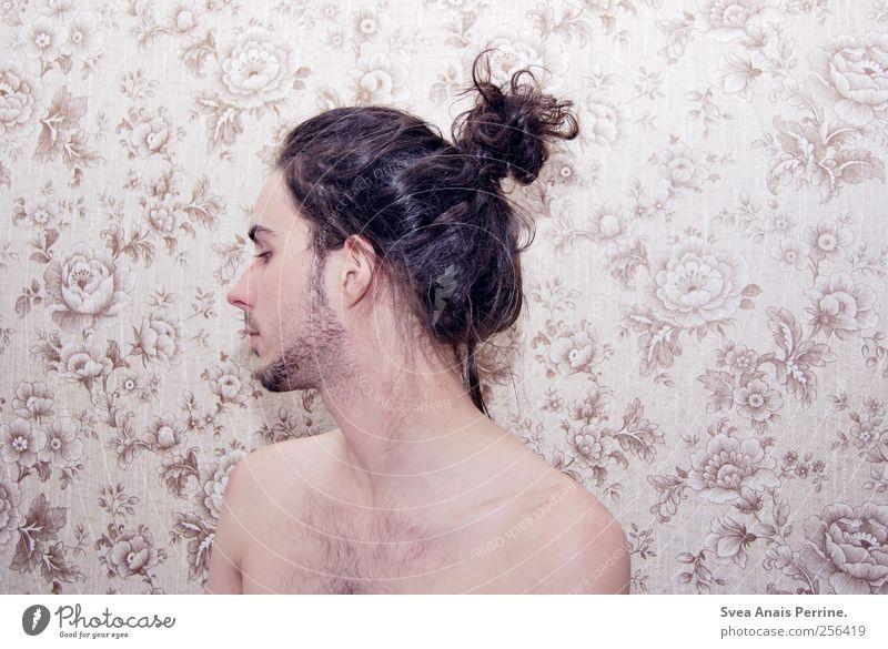 . Mensch Haare & Frisuren Haut maskulin dünn Tapete Locken brünett trashig Zopf Dutt Tapetenmuster Blumenmuster Blümchentapete