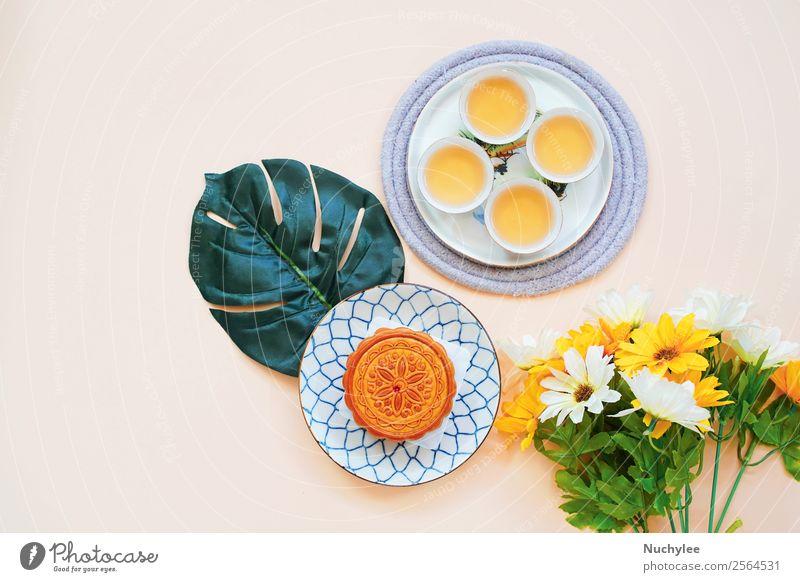 Flacher Streifen von chinesischem Mondkuchen Dessert Tee Stil Design Glück schön Dekoration & Verzierung Feste & Feiern Kunst Kultur Pflanze Blume Blatt Mode
