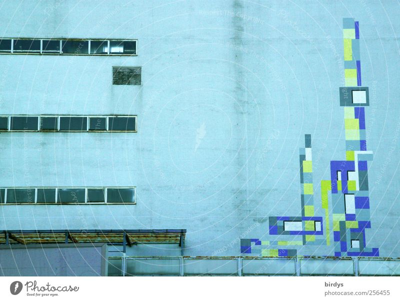 Industriefassadendesign alt Fenster Kunst Arbeit & Erwerbstätigkeit Fassade authentisch Industrie Wandel & Veränderung Kultur Fabrik Symmetrie Geometrie hässlich stagnierend Krise