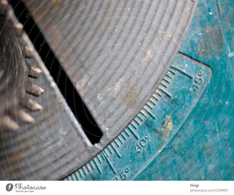 Gehrungskappsäge... blau grau Metall Arbeit & Erwerbstätigkeit Kraft gefährlich authentisch Sicherheit Baustelle Ziffern & Zahlen Handwerk Werkzeug bauen