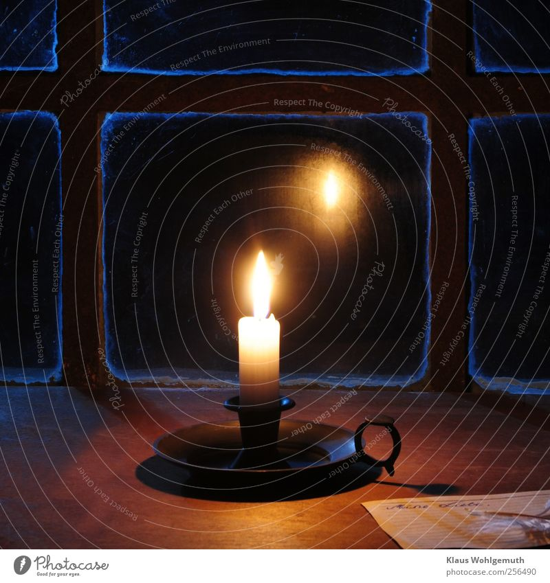 In Gedanken bei dir Weihnachten & Advent Trauerfeier Beerdigung Fenster Schreibwaren Papier Kerze Leuchter Kerzenständer Kerzendocht Schreibfeder Holz Glas Rost