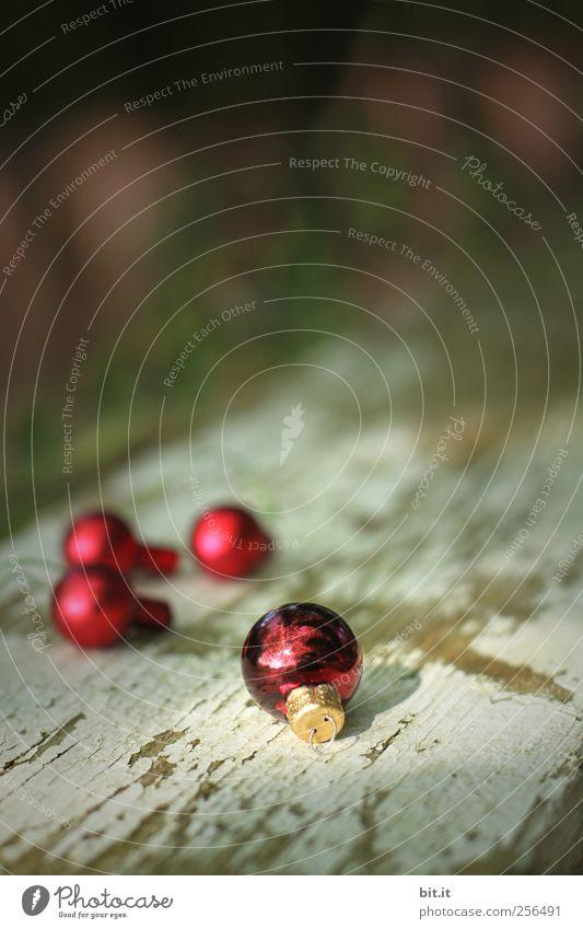 wir haun dann schonmal ab... Natur Weihnachten & Advent alt rot Holz klein Farbstoff Feste & Feiern Glas glänzend liegen leuchten Dekoration & Verzierung