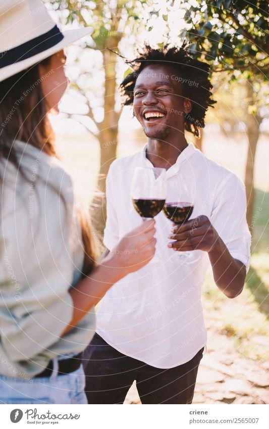 Mann und Frau bei einer Weinprobe im Freien trinken Alkohol Lifestyle Glück schön Sommer Erwachsene Paar Natur Baum Park genießen Lächeln Liebe Fröhlichkeit
