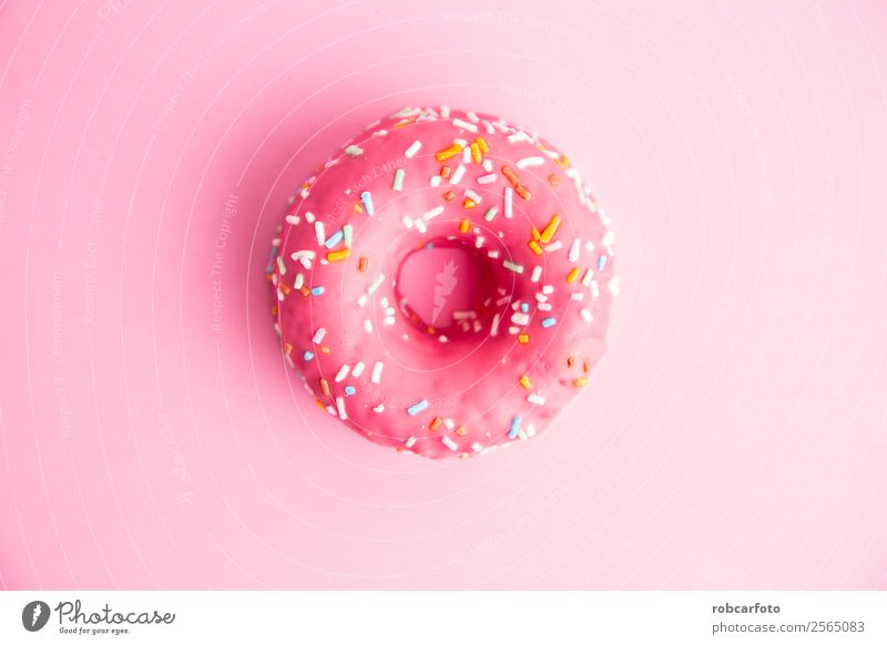 rosa Donut in farbigem Hintergrund Dessert Ernährung Frühstück Diät lecker gelb weiß Krapfen Top Streusel süß Lebensmittel Bäckerei Kalorien Isolation Zuckerguß