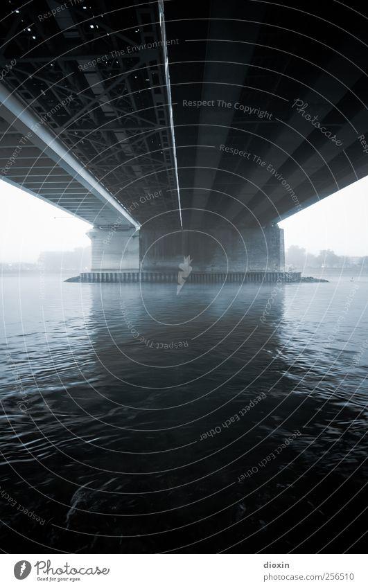 Auf der anderen Seite des Flusses [2] Wasser Himmel Wetter schlechtes Wetter Nebel Flussufer Rhein Mannheim Ludwigshafen Brücke Bauwerk Architektur Verkehr