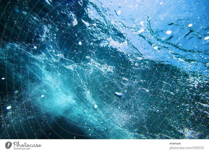 sub aqua Natur Urelemente Wasser Wellen Meer Luftblase Wasserwirbel authentisch dunkel frisch kalt nass natürlich blau Leben Erfrischung Farbfoto