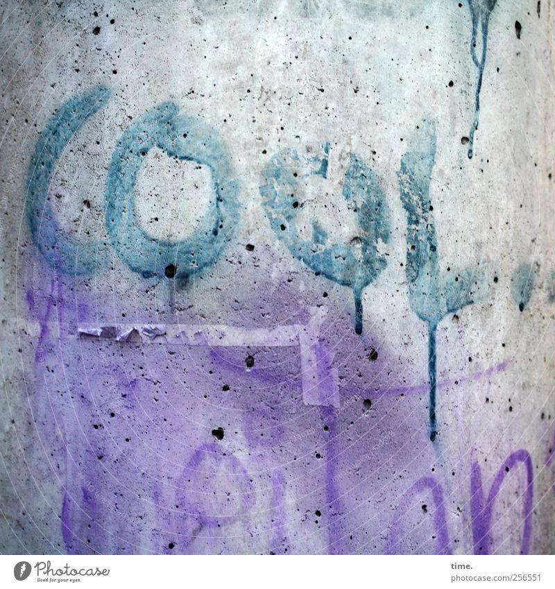 krass Farbe Graffiti Farbstoff Beton Coolness violett Gemälde Verlauf zyan unklar Schmiererei Laternenpfahl beschmutzen Grafik u. Illustration