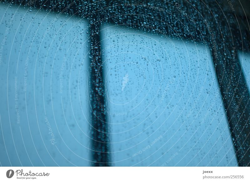 Fenster klopfen Himmel schlechtes Wetter Regen dunkel nass blau schwarz Wassertropfen Tropfen Farbfoto Gedeckte Farben Innenaufnahme Detailaufnahme Menschenleer