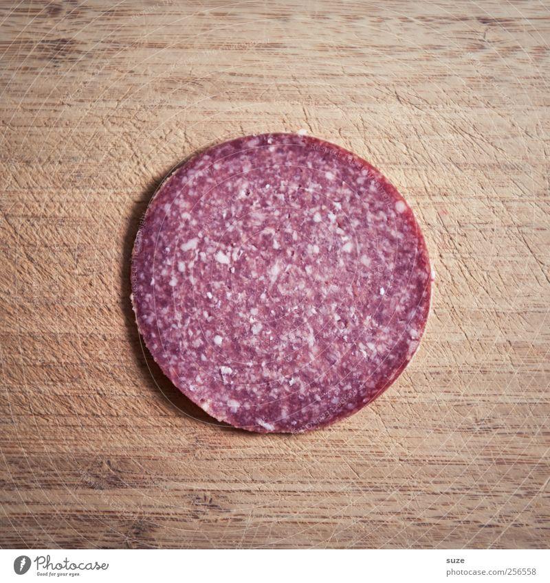 Zum Verwursten Lebensmittel Wurstwaren Salami Ernährung Holz authentisch außergewöhnlich frisch lecker lustig rund braun rot Holzbrett Geschmackssinn