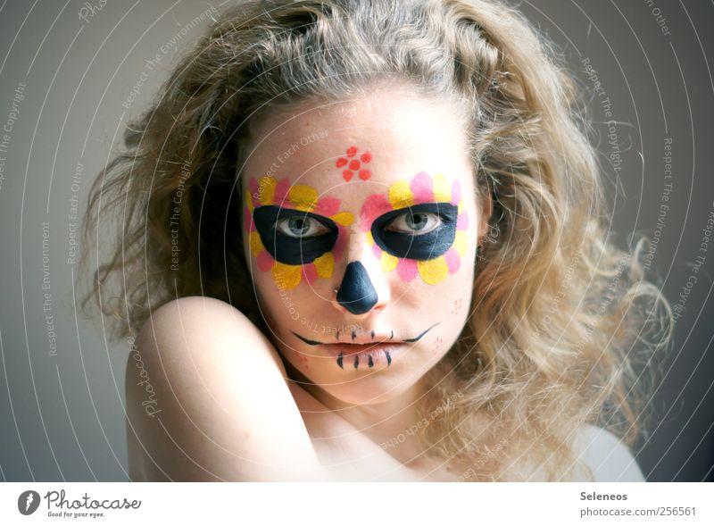 dios de los muertos II Haare & Frisuren Haut Gesicht Kosmetik Schminke Mensch feminin Junge Frau Jugendliche Kopf Auge Nase Mund Lippen 1 blond Locken Blick