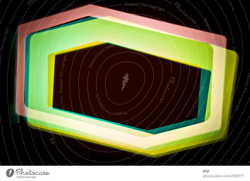 hexagon 3 Leuchtkasten leuchten mehrfarbig gelb rosa schwarz bizarr Lichteffekt Sechseck polygon Doppelbelichtung Farbenspiel Reaktionen u. Effekte