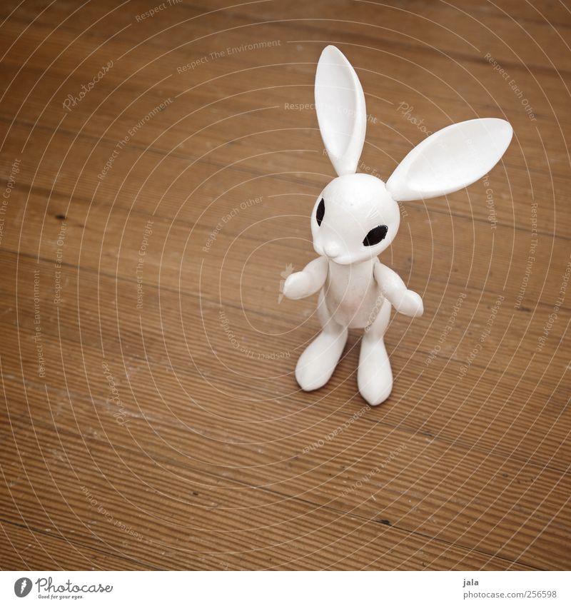 follow the white rabbit Kinderspiel Dekoration & Verzierung Ostern Tier Hase & Kaninchen Kitsch Krimskrams weiß Figur Parkett Holzfußboden Farbfoto