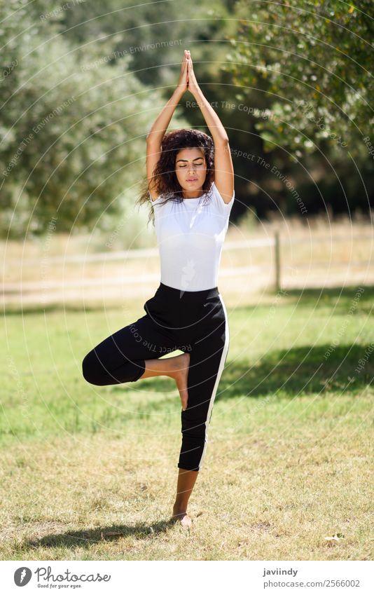 Junge arabische Frau, die Yoga in der Natur macht. Lifestyle schön Körper Erholung ruhig Meditation Sommer Sport Mensch feminin Junge Frau Jugendliche