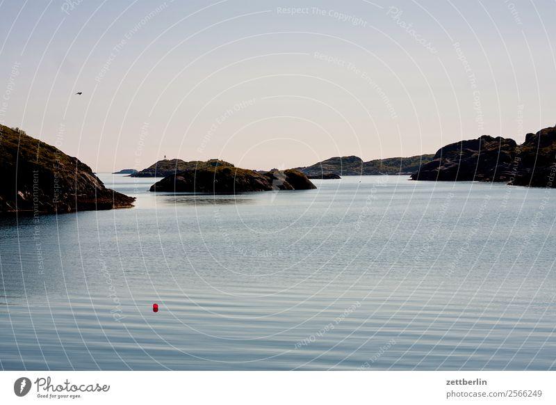 Los Lofotos Himmel Natur Ferien & Urlaub & Reisen Himmel (Jenseits) Wasser Landschaft Meer Erholung Wolken ruhig Reisefotografie Textfreiraum Felsen Horizont