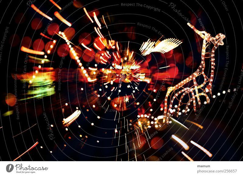 Weihnachtsparty Weihnachten & Advent Party Stimmung Linie Feste & Feiern glänzend verrückt Zeichen fantastisch bizarr Nostalgie Surrealismus Weihnachtsdekoration Rentier Nachtleben Weihnachtsbeleuchtung