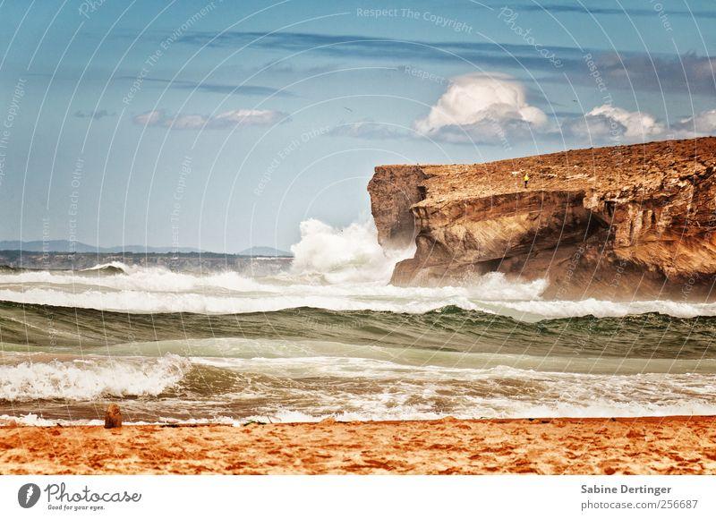 Atlantik Natur Landschaft Sand Wasser Himmel Wolken Sommer Schönes Wetter Wind Felsen Wellen Küste Strand Bucht Meer Portugal Europa Erholung