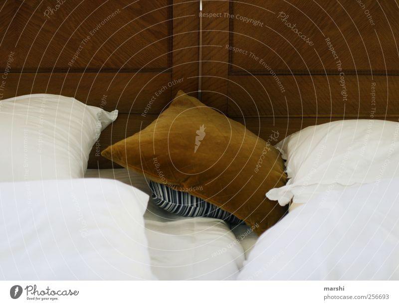Doppelbett Lifestyle Freizeit & Hobby Häusliches Leben Wohnung Möbel Bett braun Bettwäsche Kissen weiß Farbfoto Innenaufnahme