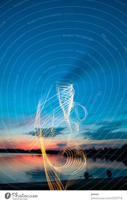 Wetterleuchten Himmel Wasser blau weiß schön rot Sommer Wolken gelb Bewegung elegant leuchten rund Schönes Wetter Seeufer skurril