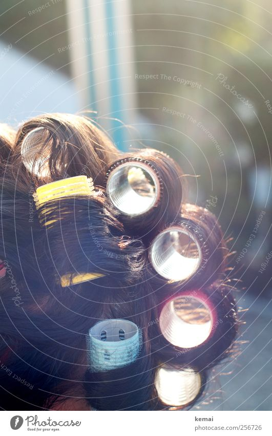 Morgenfrisur Lifestyle schön Haare & Frisuren Mensch feminin Mutter Erwachsene Leben 1 45-60 Jahre brünett kurzhaarig Locken Lockenwickler mehrfarbig Farbfoto