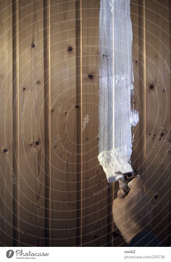 Strichliste Arbeit & Erwerbstätigkeit Anstreicher Arbeitsplatz Werkzeug Pinsel Mensch maskulin Hand 1 Kunst Holzwand Wandverkleidung Wandtäfelung streichen
