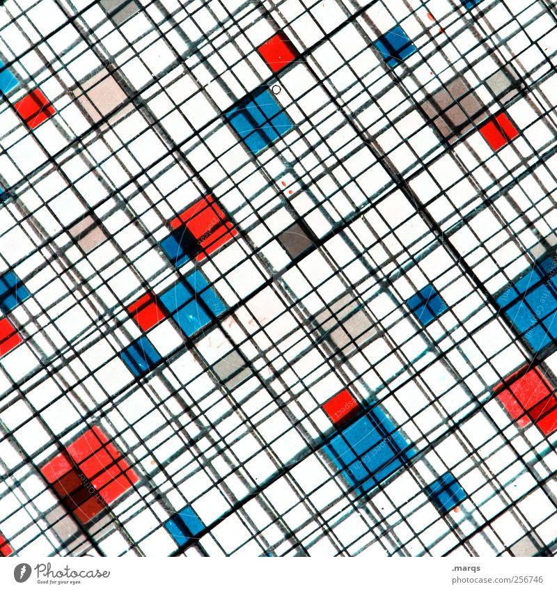 Netz Stil Design Linie außergewöhnlich Coolness hell trendy einzigartig blau rot weiß chaotisch Farbe Fortschritt Netzwerk Grafik u. Illustration