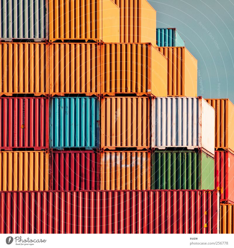Game over Himmel alt Umwelt Metall groß Ordnung Metallwaren Streifen Industrie Güterverkehr & Logistik Industriefotografie Rost Dienstleistungsgewerbe Handel