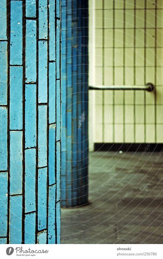 Bochumer Baukunst blau Wand Architektur Stein Mauer Bauwerk Backstein Säule Fuge