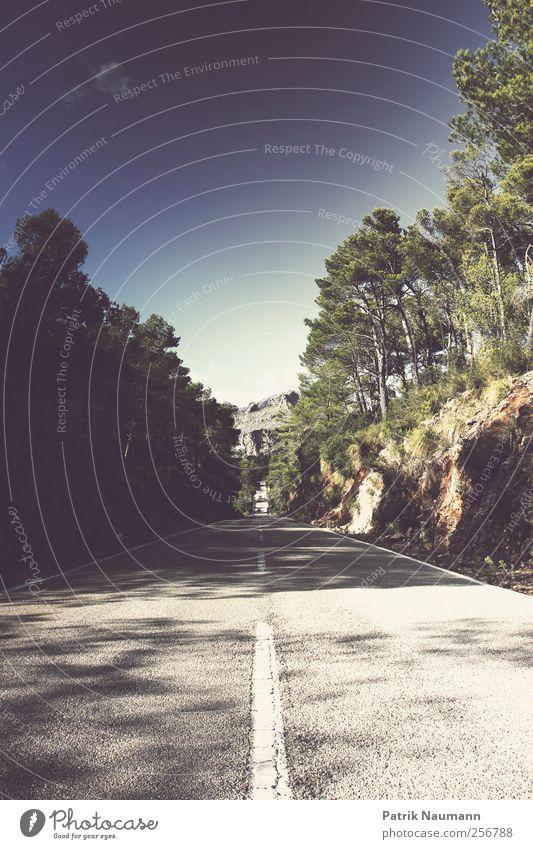 highway to horizon blau grün Stadt Sonne Ferien & Urlaub & Reisen Sommer ruhig schwarz Ferne Erholung Berge u. Gebirge Bewegung Wege & Pfade Horizont Ausflug