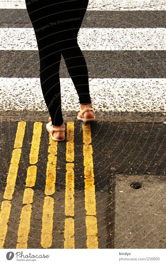 Auf welchen Strich geh ich bloß ? Frau Erwachsene 1 Mensch Verkehrswege Straße Zebrastreifen Fußgängerübergang gehen warten außergewöhnlich gelb schwarz weiß
