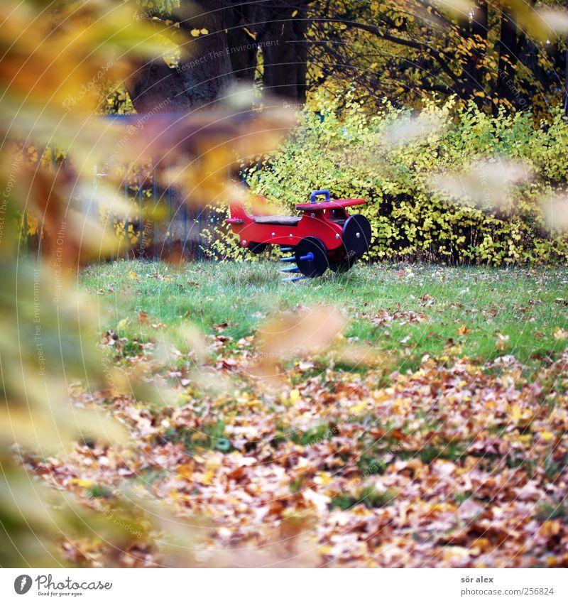 ab in den Urlaub Umwelt Natur Herbst Baum Gras Blatt Herbstlaub Dorf Spielplatz Holz Idylle November Flugzeug Verfall Vergänglichkeit ruhig Einsamkeit Wiese