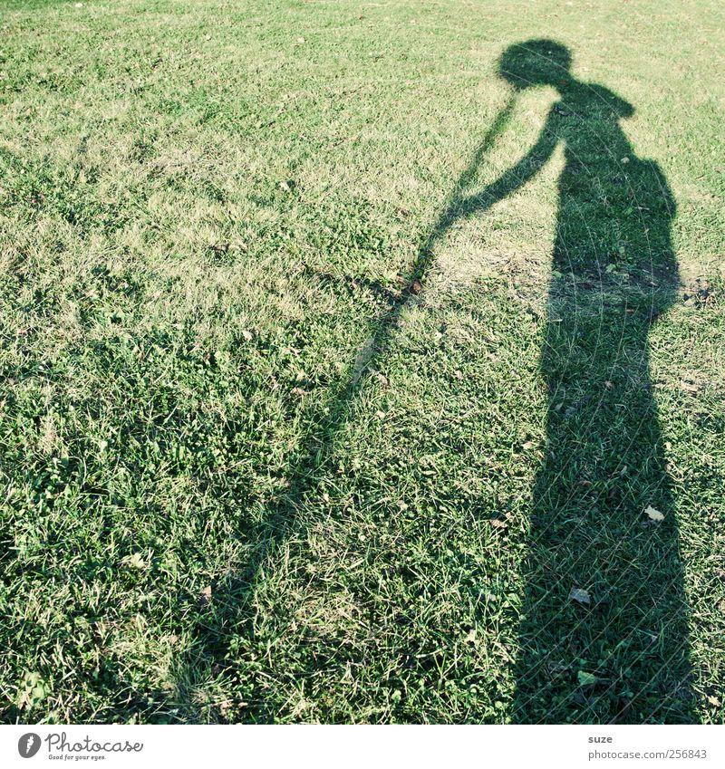 Kopfstand Freizeit & Hobby Mensch 1 Umwelt Natur Gras Wiese Hinweisschild Warnschild außergewöhnlich lustig verrückt grün Schattenspiel Stab Schattenseite