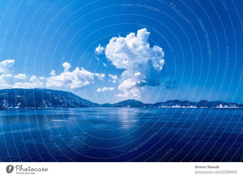 blaue Landschaft Himmel Ferien & Urlaub & Reisen Natur Wasser Meer Erholung Wolken ruhig Freude Lifestyle Leben Küste Glück Wasserfahrzeug