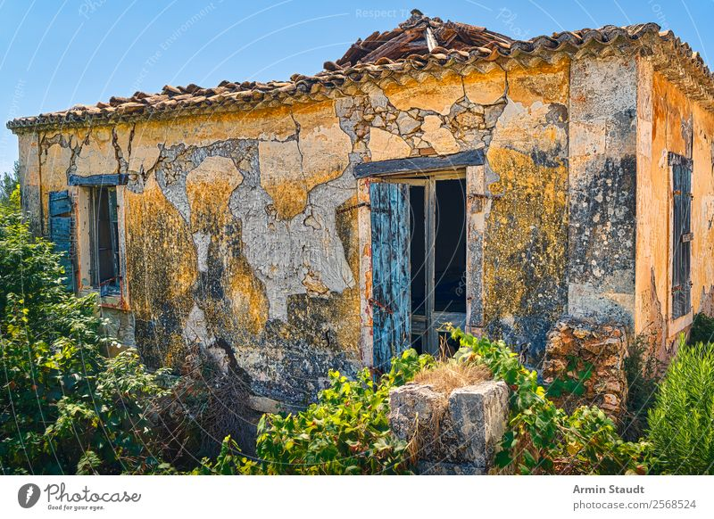 verfallenes Haus in Griechenland Lifestyle Renovieren Natur Wolkenloser Himmel Sommer Schönes Wetter Dorf Gebäude Mauer Wand alt authentisch dreckig retro