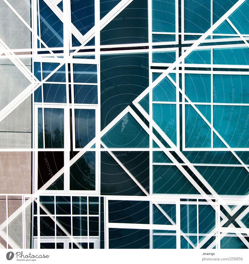 Timeline elegant Stil Design Kunst Fassade Linie Streifen außergewöhnlich Coolness eckig trendy einzigartig blau weiß chaotisch Farbe Perspektive Zukunft