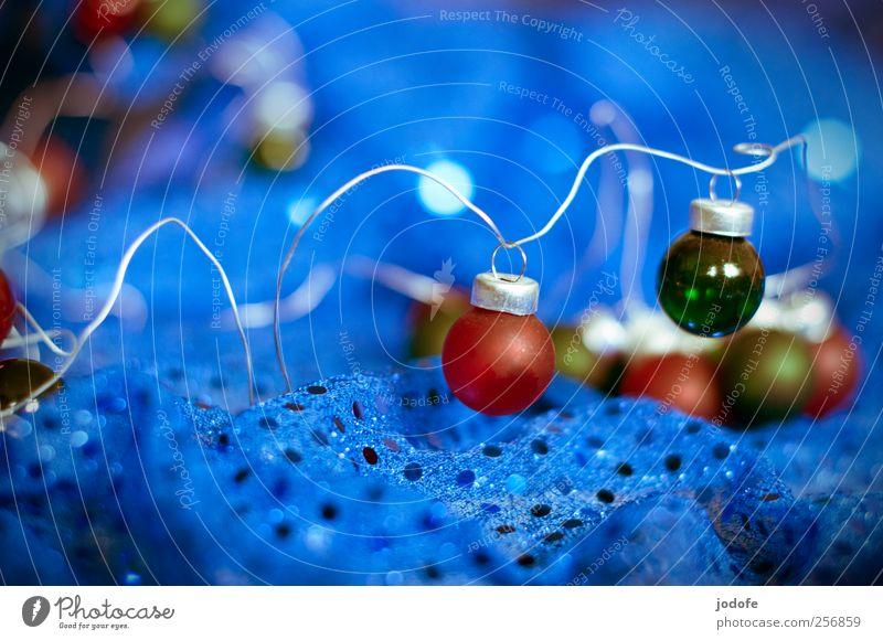 Weihnachtskitsch Weihnachten & Advent blau grün rot Winter glänzend Dekoration & Verzierung Kitsch Stoff silber Christentum Christbaumkugel Draht festlich schick verschönern