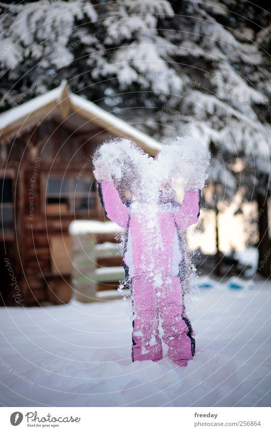 I LOVE SNOW Mensch Kind Natur Weihnachten & Advent Baum Mädchen Winter Freude Haus Wald Schnee Spielen Garten Glück Feste & Feiern Kindheit