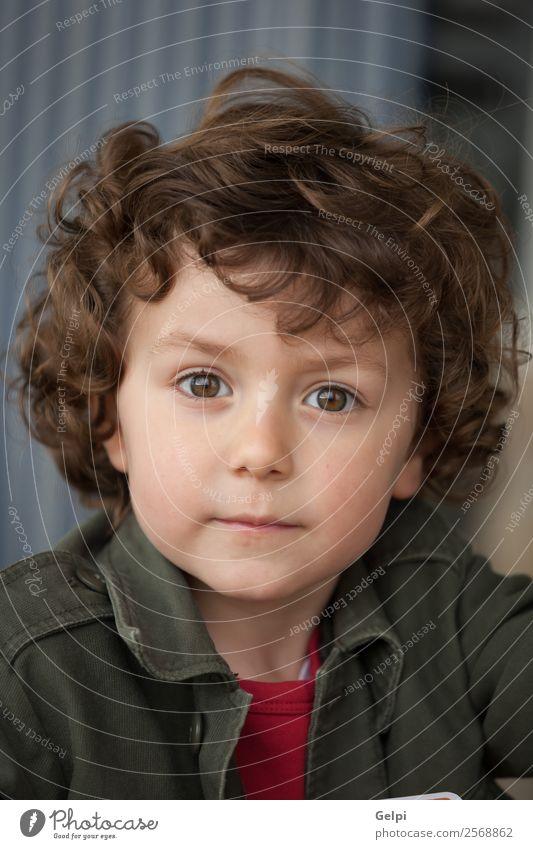 Kleinkind mit zwei Jahren und lockigem Haar, das auf die Kamera schaut. Freude Glück Gesicht Kindergarten Mensch Baby Junge Mann Erwachsene Kindheit Park