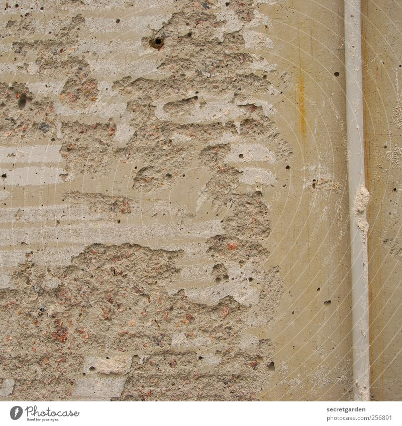 trist & isolde. Hausbau Renovieren Baustelle Bauwerk Mauer Wand Fassade Regenrohr Beton braun Qualität Verfall Vergänglichkeit Wandel & Veränderung kaputt