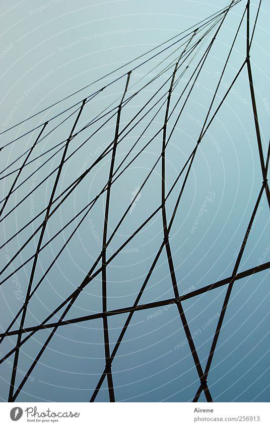 straff gespannt Himmel blau schwarz Architektur Metall hoch gefährlich ästhetisch Spitze Netz Stahlkabel Konstruktion beweglich Vernetzung Spinnennetz gespannt