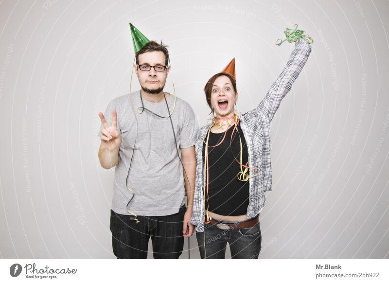 ... and a happy new year. Mensch Jugendliche Erwachsene grau Glück Party Paar Feste & Feiern maskulin 18-30 Jahre Junge Frau Veranstaltung Junger Mann