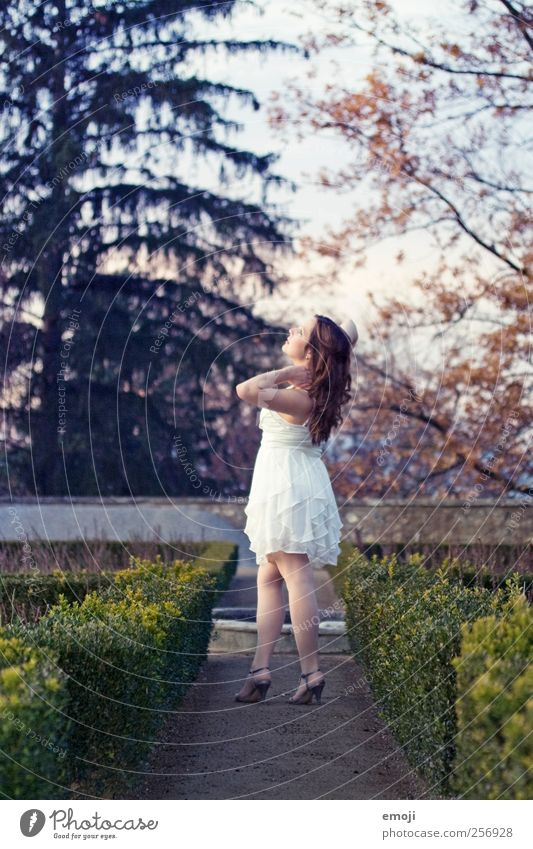 Schlossgarten Mensch Jugendliche schön Erwachsene feminin Bewegung Mode gehen 18-30 Jahre Kleid brünett Junge Frau langhaarig Prinzessin Laufsteg Frau