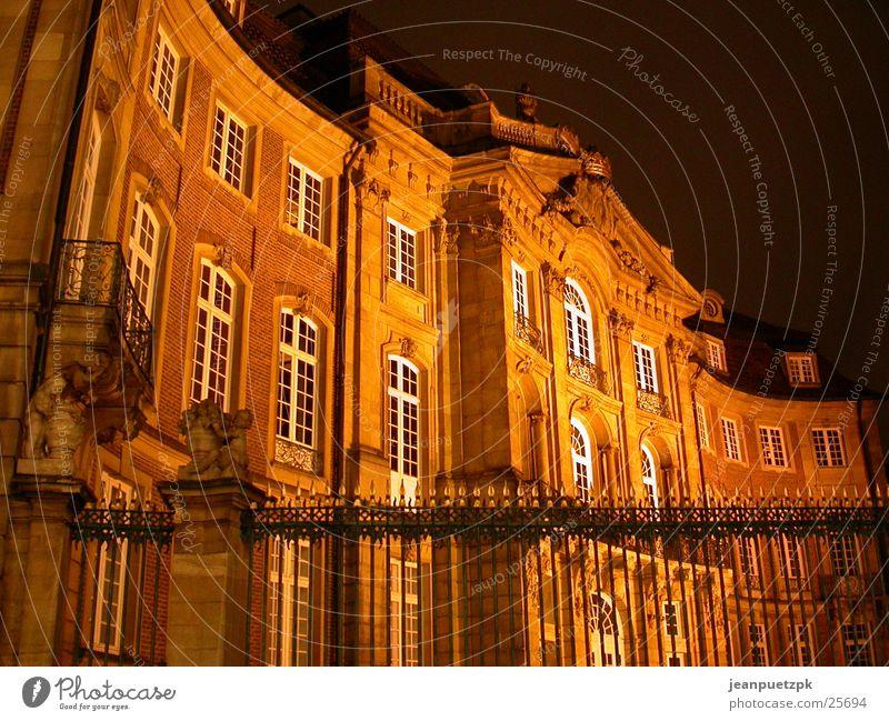 Münster bei Nacht Gebäude Beleuchtung Europa Burg oder Schloss Zaun Nordrhein-Westfalen