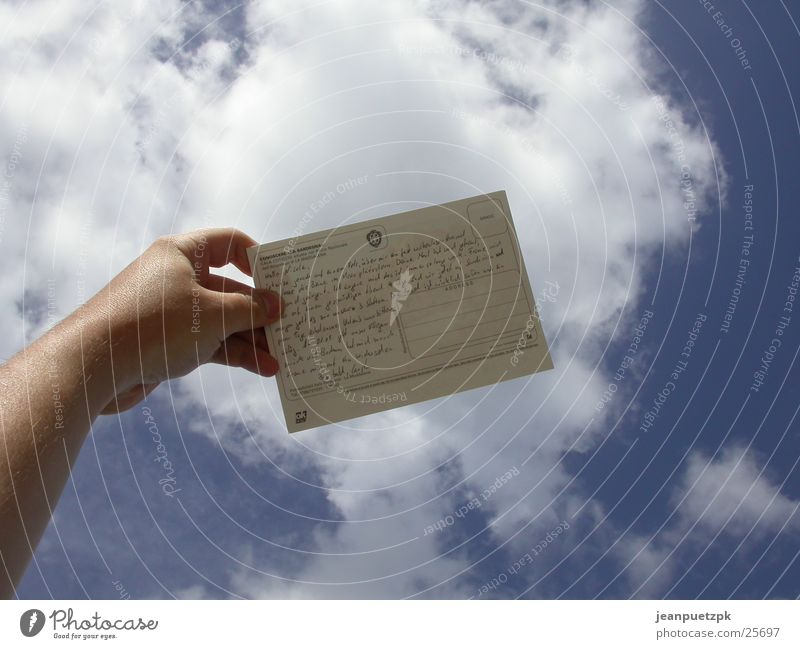 Himmelspost Hand Himmel Wolken Traurigkeit Europa Postkarte Gedanke Post Text Zeile