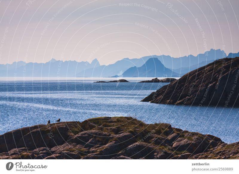 Norwegen Himmel Ferien & Urlaub & Reisen Natur Himmel (Jenseits) Wasser Landschaft Meer Wolken Reisefotografie Ferne Textfreiraum Felsen Horizont Nebel Europa