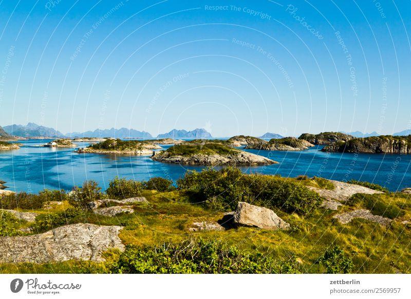 Henningsvær Polarmeer Europa Felsen Ferien & Urlaub & Reisen Fjord Himmel Himmel (Jenseits) Horizont Insel Landschaft Lofoten maritim Meer Natur nordisch