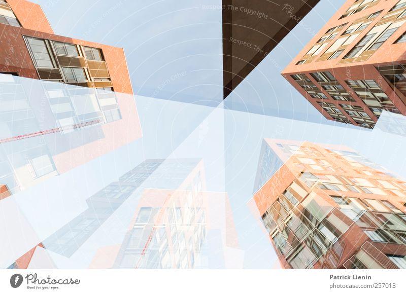 Schnittmenge Stadt Skyline Hochhaus Bauwerk Gebäude Architektur hoch einzigartig Kommunizieren Kunst Mittelpunkt skurril Stimmung Doppelbelichtung Haus Linie