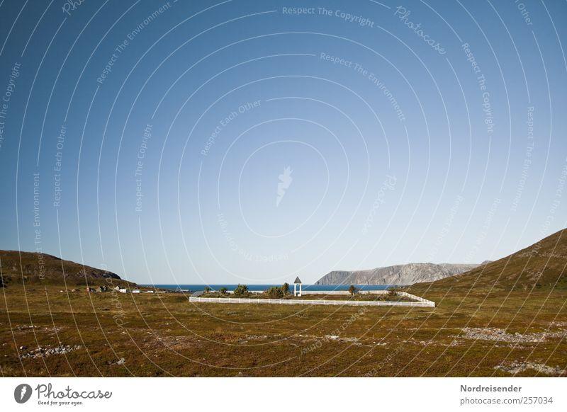 Vom Leben und vom Sterben... Sinnesorgane ruhig Meditation Ferne Landschaft Wolkenloser Himmel Schönes Wetter Felsen Berge u. Gebirge Küste Fjord Meer