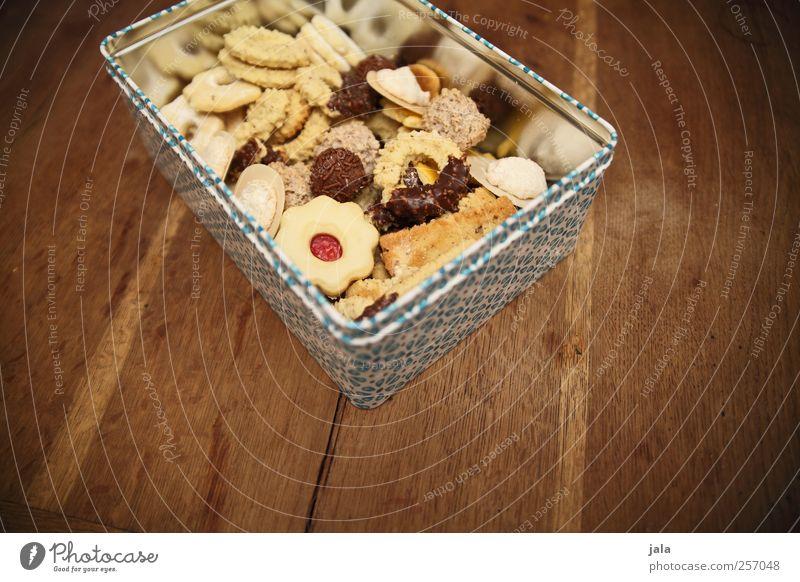 hüftgold Lebensmittel Teigwaren Backwaren Süßwaren Plätzchen Weihnachtsgebäck Ernährung Fingerfood Dose lecker süß Holztisch Farbfoto Innenaufnahme Menschenleer