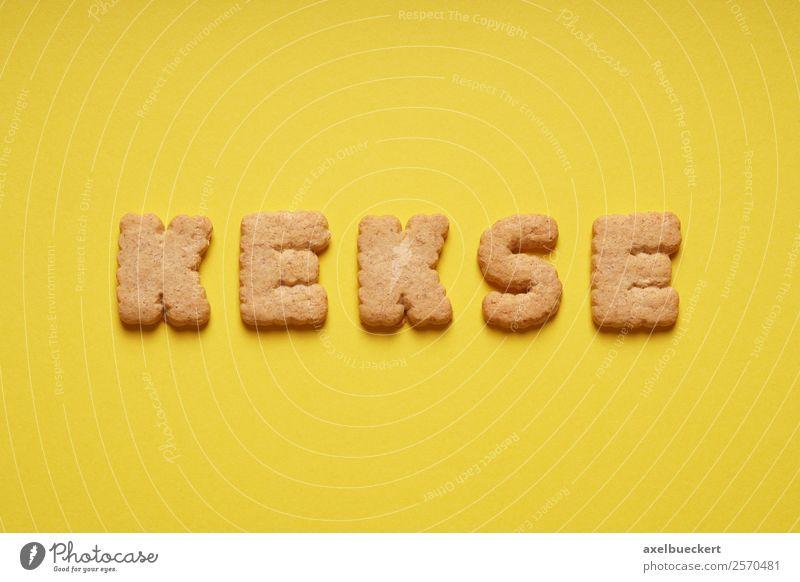 Kekse Lebensmittel Teigwaren Backwaren Süßwaren Ernährung Kaffeetrinken gelb Buchstaben Wort Text Vogelperspektive Farbfoto Studioaufnahme Menschenleer